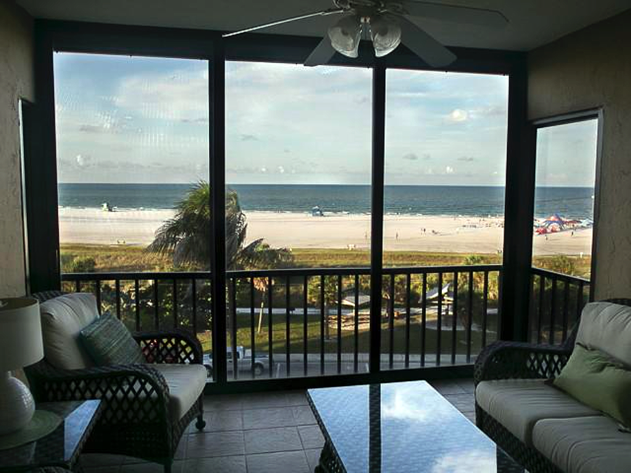 View from verandah out to Siesta Beach and the Gulf of Mexico