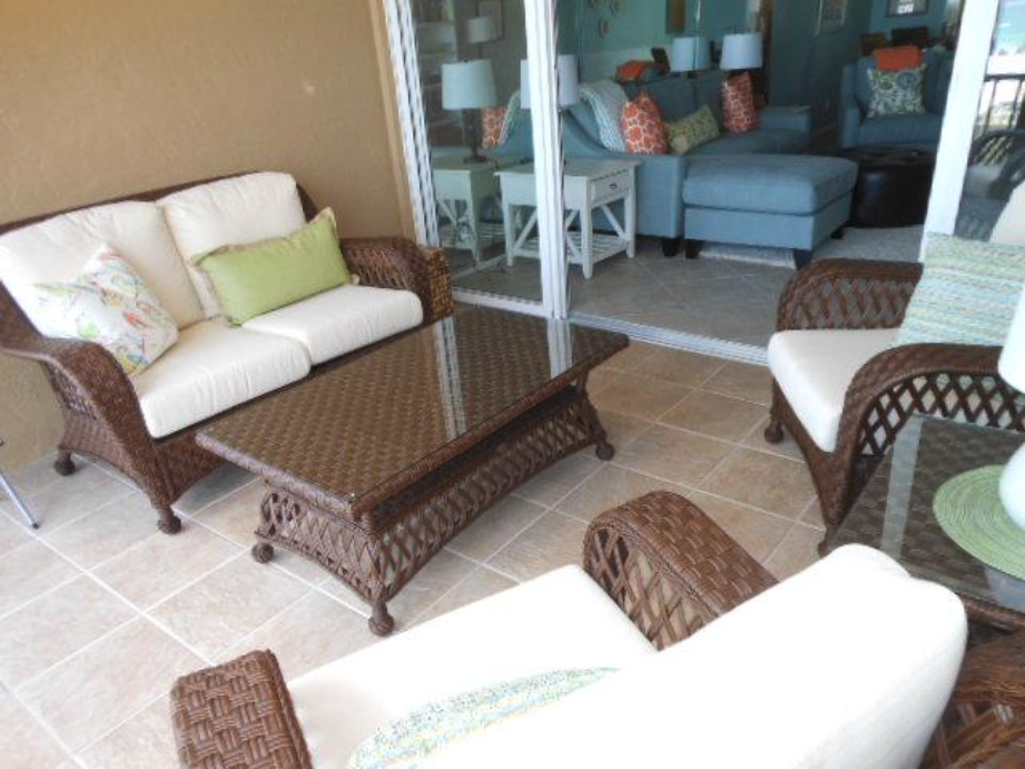 Patio furniture on Patio furniture on fifth-floor verandah overlooking the Atlantic Ocean