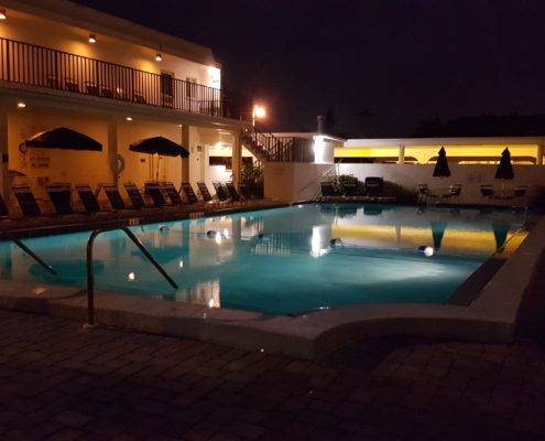 Crescent Royale Condominiums pool at night