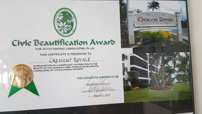 Crescent Royale Condominiums receives the Civic Beautification Award
