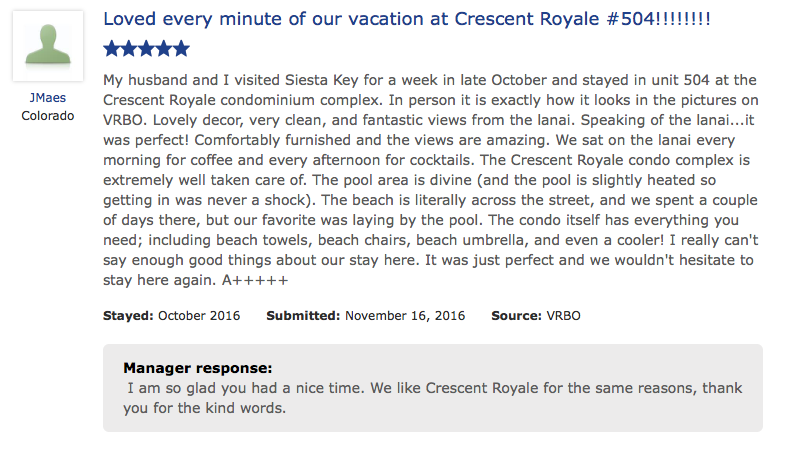 Loved Evey Minute of our Vacation at crescent royale condo 504 on 11-16-2016
