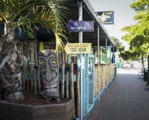 Paradise Found Tiki Bar and coffee signs